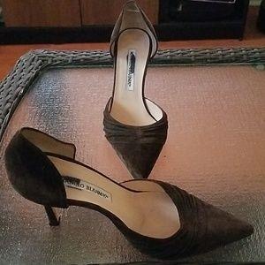 Manolo Blahnik suede brown heels